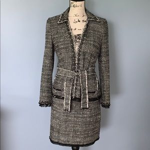 ANN TAYLOR lined 2P suit black and white